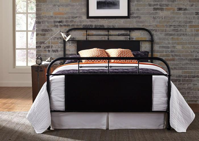 Vintage Metal Black King Bed,LIBUM