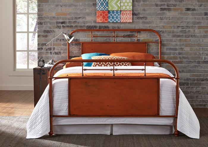 Vintage Metal Orange King Bed,LIBUM