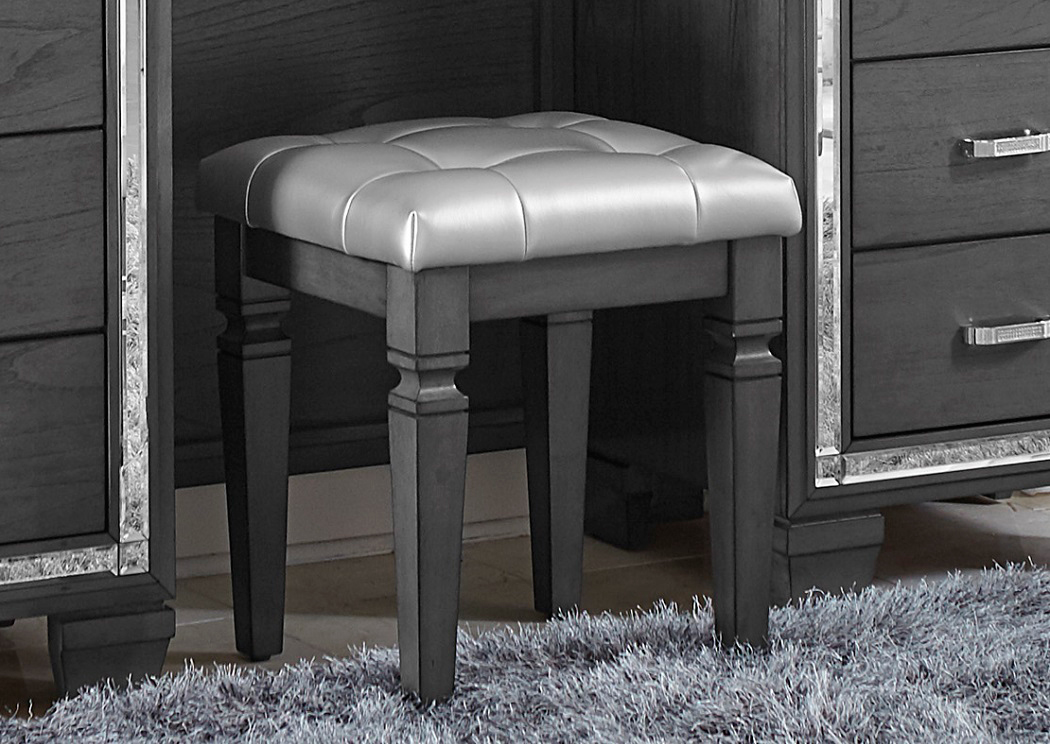 Excellent Underpriced Furniture Allura Grey Vanity Stool Alphanode Cool Chair Designs And Ideas Alphanodeonline