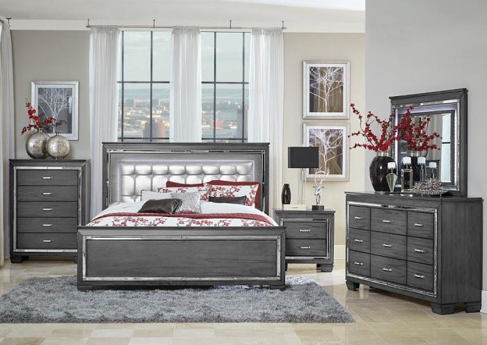 Underpriced Furniture Allura Grey King Bedroom Set