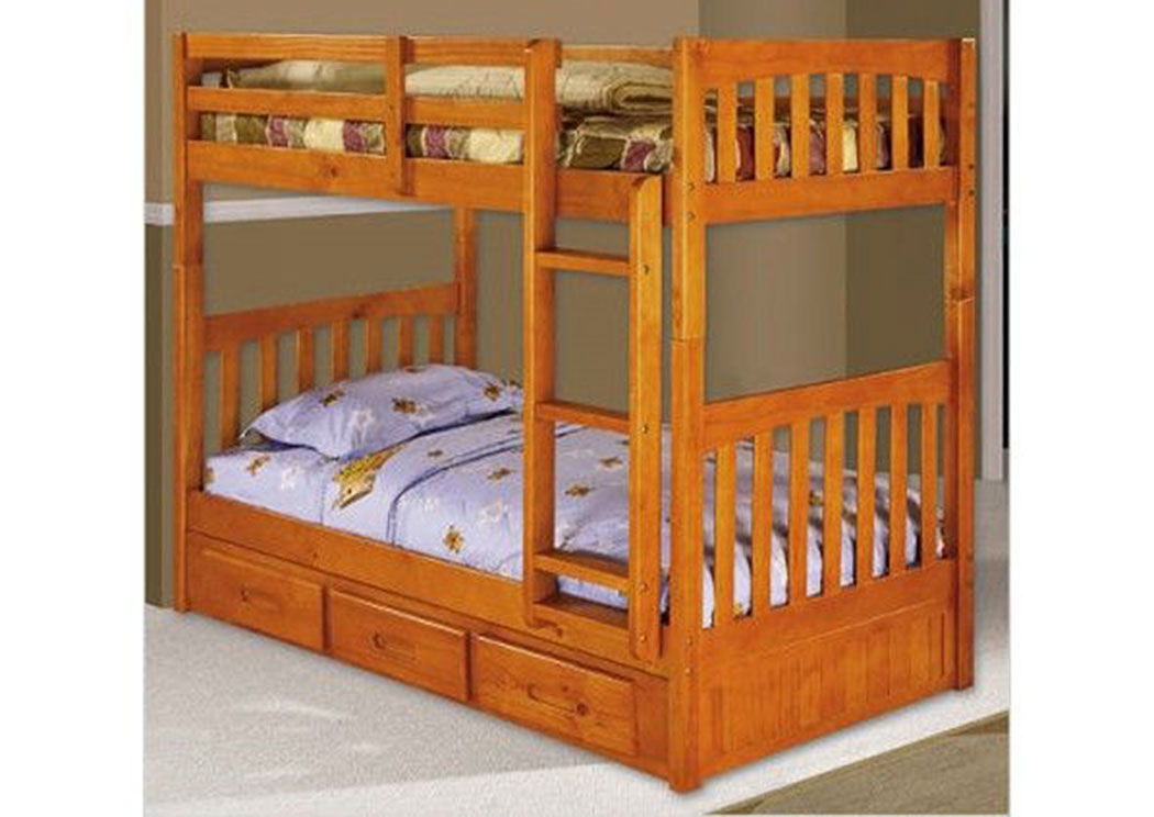 Underpriced Furniture Honey Twin Over Twin Bunk Bed W Storage