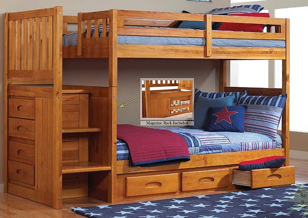 Honey Twin Over Twin Bunkbed with Stairs,DWFUM