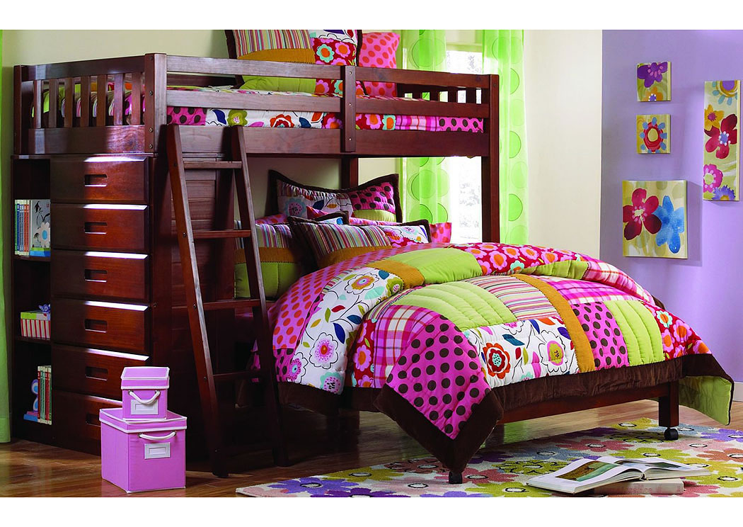 Merlot Twin/Full Loft Bunk Bed ,DWFUM