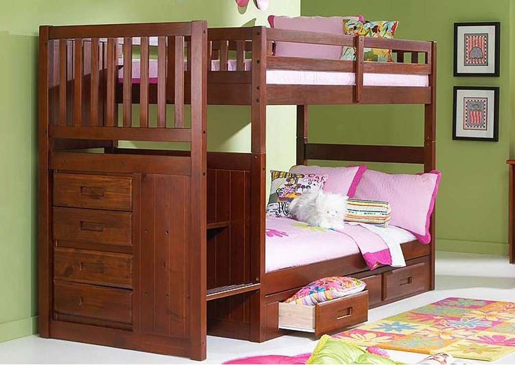 Merlot Twin Over Twin Bunkbed with Stairs,DWFUM
