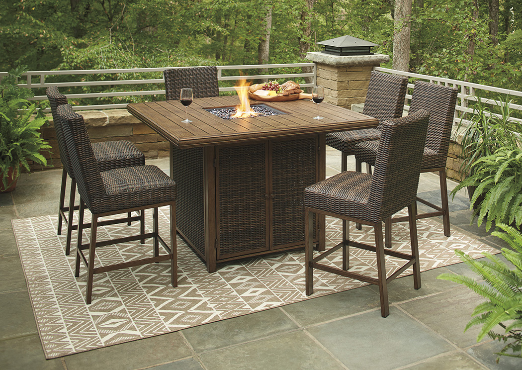 Paradise Trail Bar Table w/ Fire Pit & 6 Barstools,ASHUM