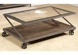 Avignon Glass Cocktail Table w/ Casters