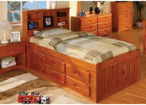Honey Twin Bookcase Bed