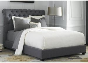 Chesterfield Gray Upholstered King Bed