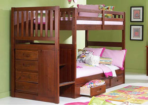 Merlot Twin Over Twin Bunkbed with Stairs