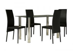 Sariden Table & 4 Black Chairs