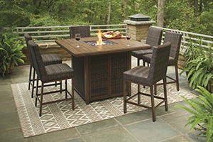 Paradise Trail Bar Table w/ Fire Pit & 6 Barstools