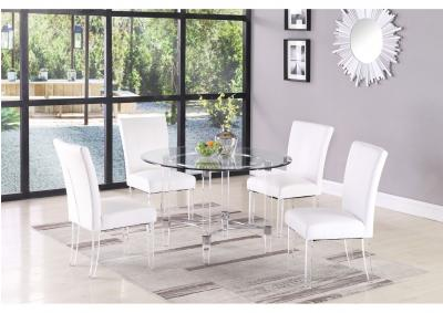 Image for White Dining Set w/ Round Glass Top Table & 4 Chairs