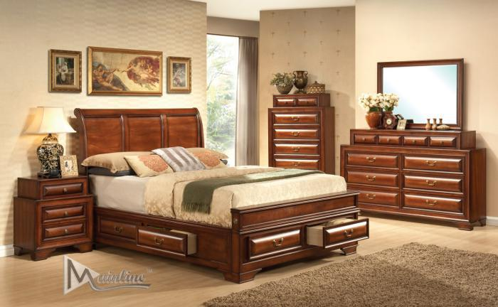 Baron King Storage Bed, Dresser, Mirror, Nightstand,Mainline