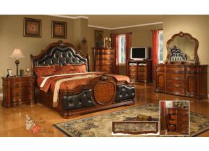 King Coronado Upholstered Bed, Dresser, Mirror, Nightstand