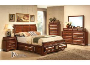 Baron Queen Storage Bed, Dresser, Mirror, Nightstand