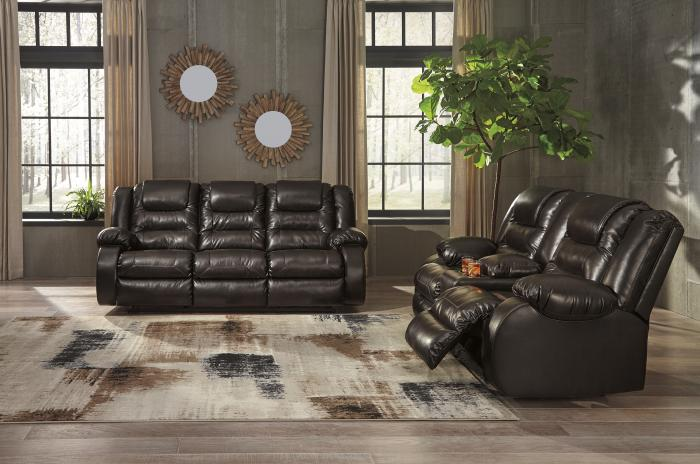 <Vacherie Chocolate Reclining Sofa and Double Reclining Loveseat w/Console + TV Stand & Fireplace + Free TV