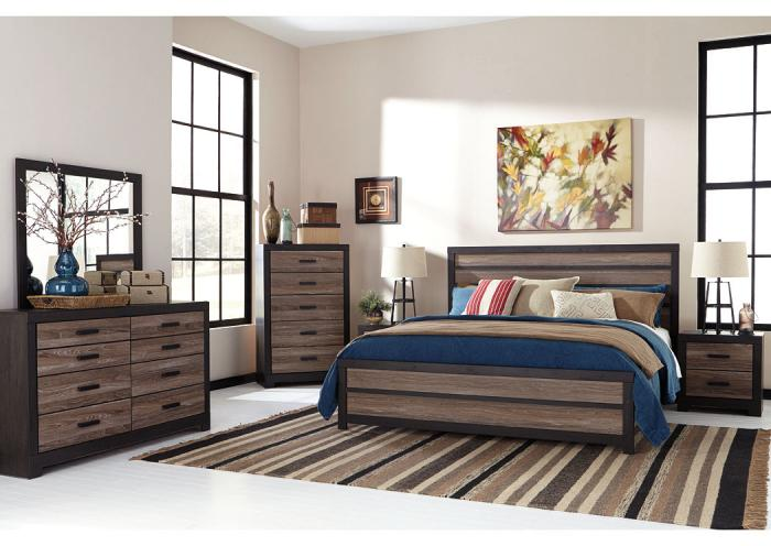 Harlinton Queen Panel Bed w/Dresser, Mirror, Queen Powerbase and Mattress PLUS FREE GOOGLE HOME,Tax Time Savings 2019