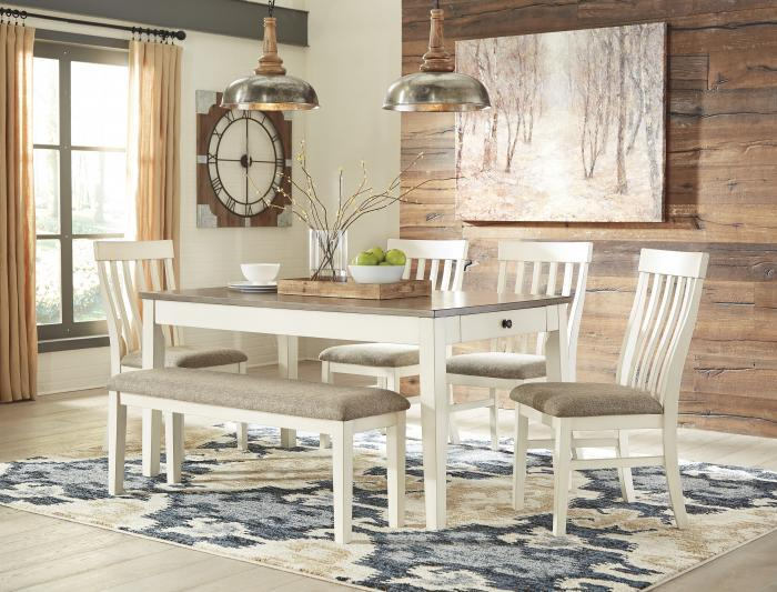 <Bardilyn Rectangular Dining Table w/4 Side Chairs PLUS FREE BENCH