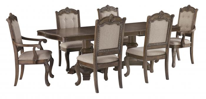 <Charmond Dining Table & 4 Chairs + FREE Dinnerware
