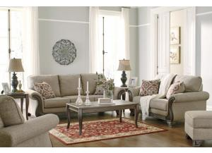 Claremorris Fog Sofa & Loveseat + FREE Vintelli Metallic Gray Occasional Table Set &  FREE 15 ft Pool