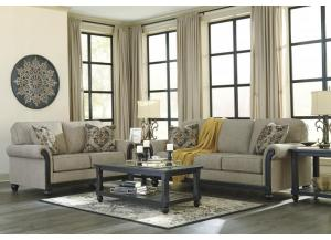 Blackwood Taupe Sofa & Loveseat + FREE Mallacar Black Occasional Table Set & FREE 15 ft Pool