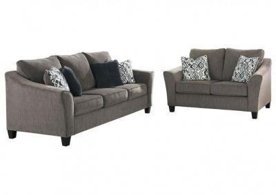 Nemoli Slate Sofa U0026 Loveseat PLUS FREE Table Set