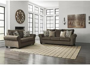 Nesso Walnut Sofa & Loveseat PLUS FREE Tables (T003-13) PLUS FREE VACATION