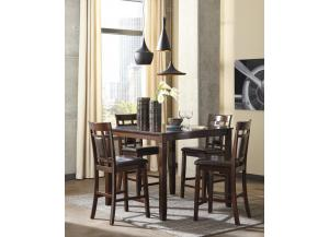 Bennox Brown Dining Room Counter Table Set + FREE Rug