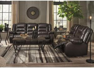 Vacherie Chocolate Sofa and Loveseat with Free TV
