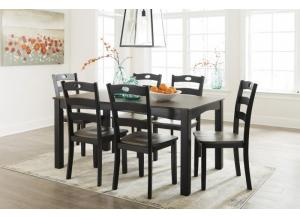 Froshburg Grayish Brown/Black 7 Piece Dining Room Table Set + FREE Rug & FREE 16 Piece Dinnerware