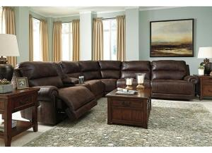 Luttrell Brown Reclining Sectional and Rocker Recliner PLUS FREE TV