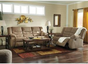 Tulen Mocha Reclining Sofa and Loveseat with Free TV