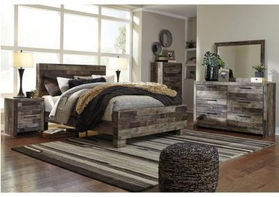 Derekson Multi Gray Queen Panel Bed w/Dresser, Mirror + FREE $100 Prepaid Mastercard