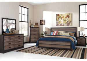Harlinton King Panel Bed w/Dresser, Mirror, King Powerbase and Mattress PLUS FREE GOOGLE HOME