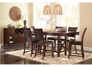 Collenburg Dark Brown Rectangular Dining Room Counter Extension Table w/4 Upholstered Barstools PLUS FREE VACATION