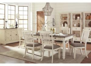 Bolanburg Antique White Rectangular Dining Room Table w/4 Upholstered Side Chairs