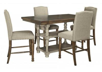 Lettner Dining Counter Table & 4 Barstools