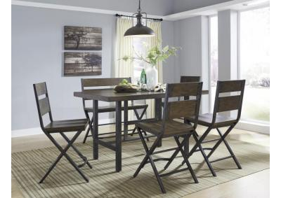 Kavara Meadium Brown Rectangular Counter Height Table w/4 Stools + FREE Rug & FREE 16 Piece Dinnerware