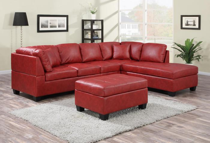 NEW JERSEY BONDED LEATHER SECTIONAL WITH OTTOMAN.,XLNC Xclusives