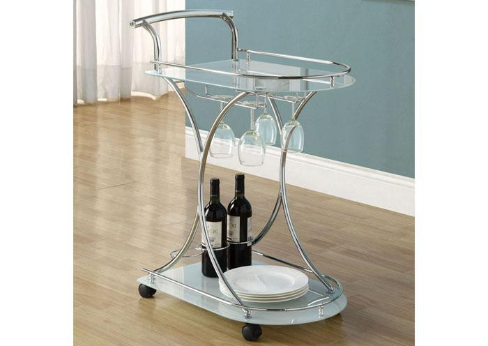TUSCAN SERVER – CHROME METAL / WHITE TEMPERED GLASS ON CASTORS,XLNC Xclusives