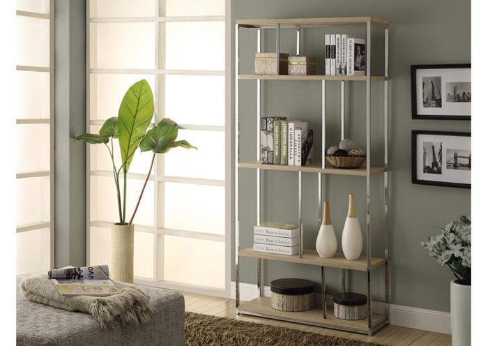 BOOKCASE – 72″H / NATURAL WITH CHROME METAL 3210,XLNC Xclusives