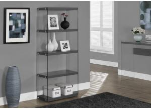 BOOKCASE – 60″H / GLOSSY GREY WITH TEMPERED GLASS 3295