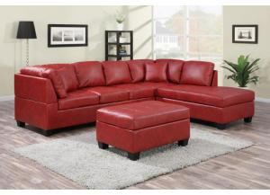 NEW JERSEY BONDED LEATHER SECTIONAL WITH OTTOMAN.