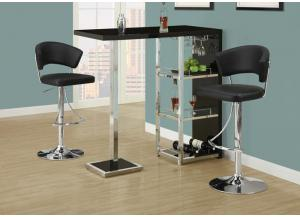 QUARTER BLACK BAR STOOL.