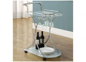 TUSCAN SERVER – CHROME METAL / WHITE TEMPERED GLASS ON CASTORS