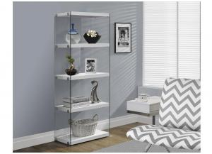 BOOKCASE – 60″H / GLOSSY WHITE WITH TEMPERED GLASS 3289
