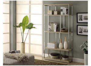 BOOKCASE – 72″H / NATURAL WITH CHROME METAL 3210