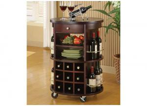IMPRESSIVE HOME BAR – CAPPUCCINO SERVING CART WITH WINE STORAGE