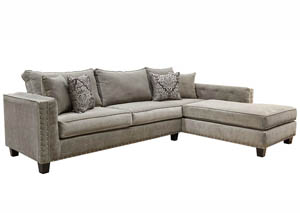 JJ's Sexy Slick Grey 2Pc Classy Sectional