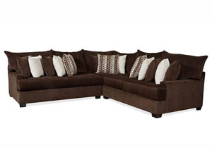 JJ's Chocolate Fudge 3Pc Oversized Sectional
